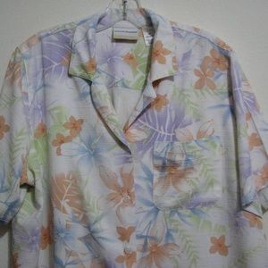 Alfred Dunner 16 W Hawaiian Pastel Floral Blouse